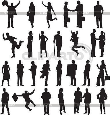 Zestaw sylwetki ludzi biznesu | Klipart wektorowy |ID 3300721
