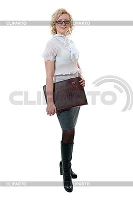 Frau in weißer Bluse und grauem Rock | Foto mit hoher Auflösung |ID 3121734