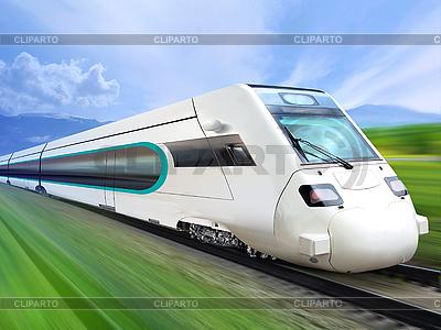 Schnellzug an der Eisenbahn | Foto mit hoher Auflösung |ID 3135939