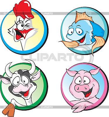 Krowa, wieprzowina, kurczak, ryby | Klipart wektorowy |ID 3125960