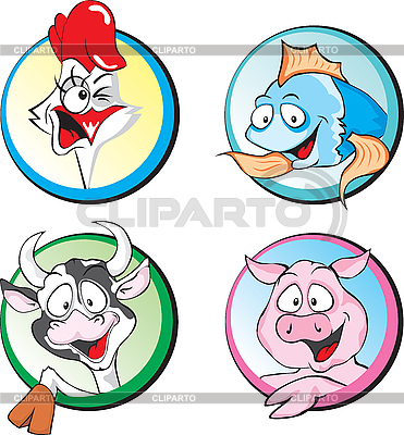 Kuh, Schwein, Huhn, Fisch | Stock Vektorgrafik |ID 3125960