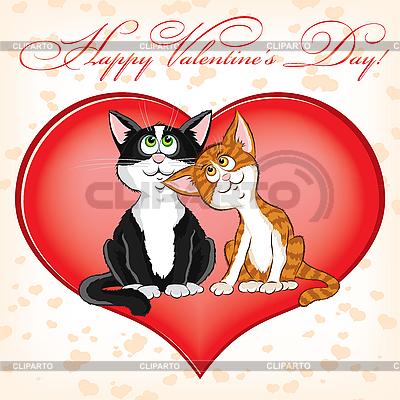 Karta dni Valentine `s z kotami | Klipart wektorowy |ID 3128736