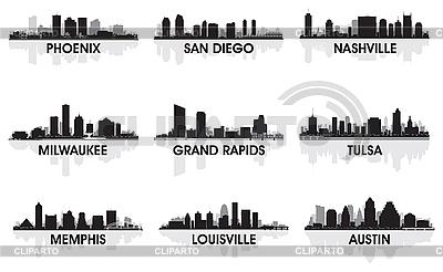 미국의 도시 | 벡터 클립 아트 |ID 3139146