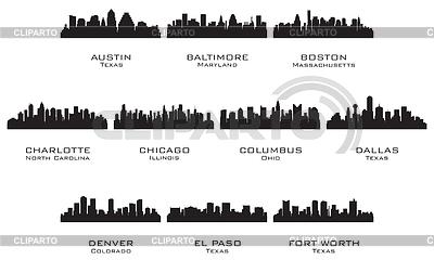 Sylwetki USA miastach | Klipart wektorowy |ID 3221711
