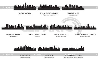 Sylwetki USA miastach | Klipart wektorowy |ID 3221715