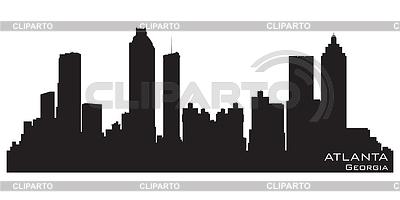 佐治亚州亚特兰大市的天际线。详细剪影 | 向量插图 |ID 3319057
