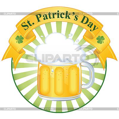Kieliszek dobrego piwa na dzień Świętego Patryka | Klipart wektorowy |ID 3179462