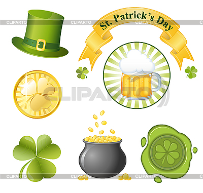 St. Patricks Day - Set von Icons | Stock Vektorgrafik |ID 3183506