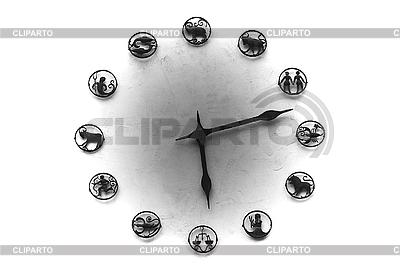 Uhr mit Zifferblatt mit Tierkreiszeichen | Foto mit hoher Auflösung |ID 3135558