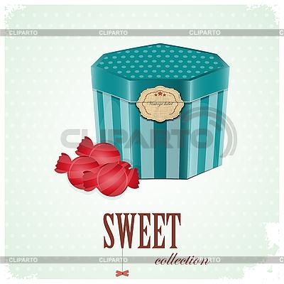 빈티지 엽서 - 상자와 달콤한 사탕 | 벡터 클립 아트 |ID 3154131