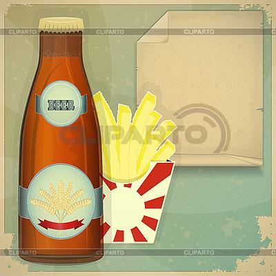 Bier und Chips - Menü im Vintage-Stil | Stock Vektorgrafik |ID 3161510