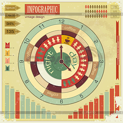 Infografika zabytkowe elementy - Pojęcie czasu pracy   Klipart wektorowy  ID 3203962