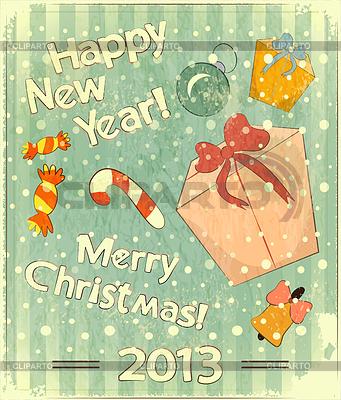 Christmas retro Postkarte mit Spielzeug und Geschenk-Box | Stock Vektorgrafik |ID 3366709