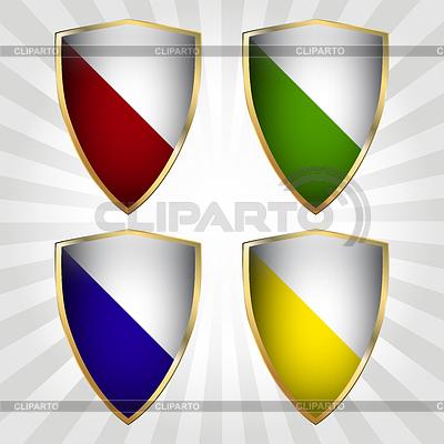 Zestaw czterech tarcz | Klipart wektorowy |ID 3348220