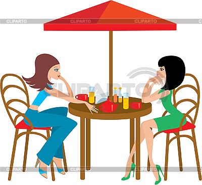 ... женщины в кафе - Векторный клипарт: клипарт.рф/изображение/3142600-две...