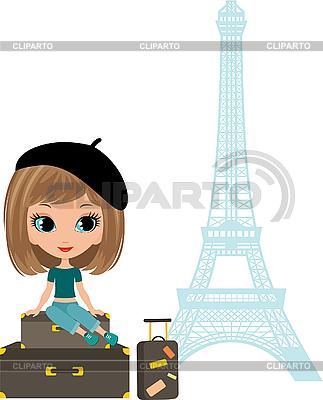 Pretty girl z walizka w pobliżu Wieży Eiffla | Klipart wektorowy |ID 3154918