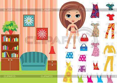 Paper Doll z ubrania i pokój | Klipart wektorowy |ID 3167633