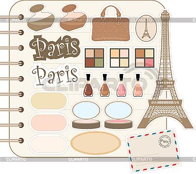 Scrapbook-Elemente mit Eiffelturm und Kosmetik | Stock Vektorgrafik |ID 3167642