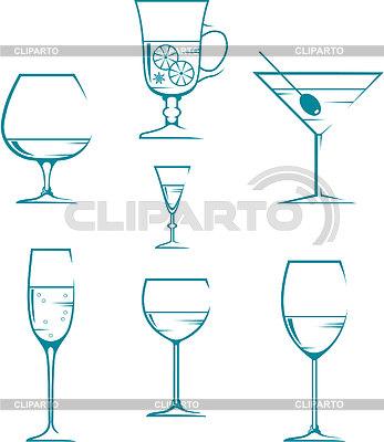 Zestaw symboli i ikon okulary dla napojów alkoholowych | Klipart wektorowy |ID 3329509