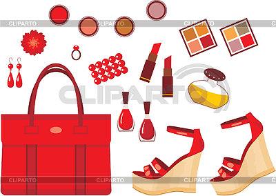 Zestaw czerwonych akcesoriów | Klipart wektorowy |ID 3352778