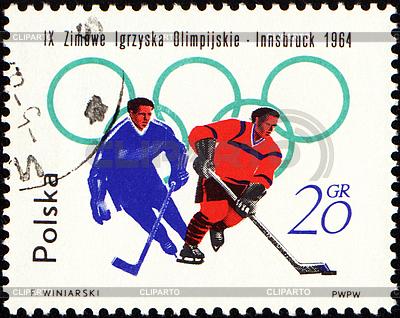 Zwei Hockeyspieler auf Poststempel | Illustration mit hoher Auflösung |ID 3148677