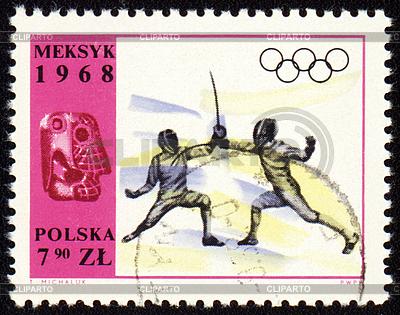 Fechten auf Poststempel von Polen | Illustration mit hoher Auflösung |ID 3153929