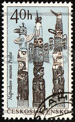 American Indian Totempfähle auf Poststempel | Illustration mit hoher Auflösung |ID 3154994
