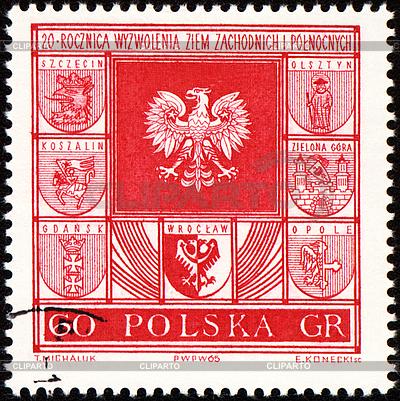 Wappen der Städte in Polen auf Poststempel | Illustration mit hoher Auflösung |ID 3166356