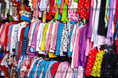 Baby clothes hangers in store   High resolution stock photo   ID