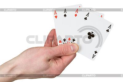 Vier-Ass auf der Hand | Foto mit hoher Auflösung |ID 3147408