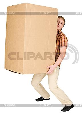 남자는 큰 무거운 골판지 상자를 운반 | 높은 해상도 사진 |ID 3148105