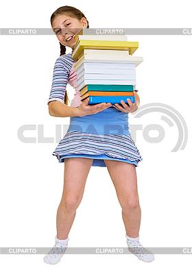 Schülerin mit Stapel von Lehrbüchern | Foto mit hoher Auflösung |ID 3153686