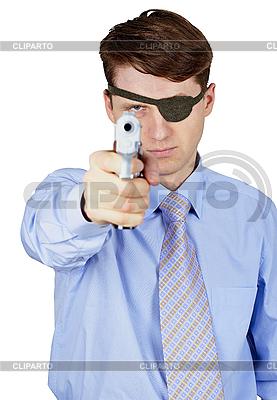 Грозный мужчина целью пистолет фоне | Фото большого размера |ID 3156680