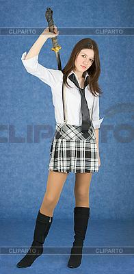 Młoda kobieta z katana | Foto stockowe wysokiej rozdzielczości |ID 3160475