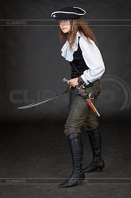 Piraten-Mädchen mit Pistole und Säbel | Foto mit hoher Auflösung |ID 3160489