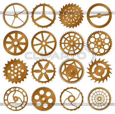 Набор элементов дизайна - зубчатые колесики | Векторный клипарт |ID 3290869