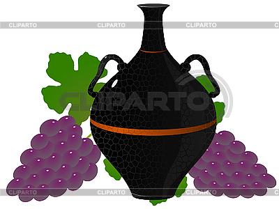 Amphora mit Trauben   Stock Vektorgrafik  ID 3185018