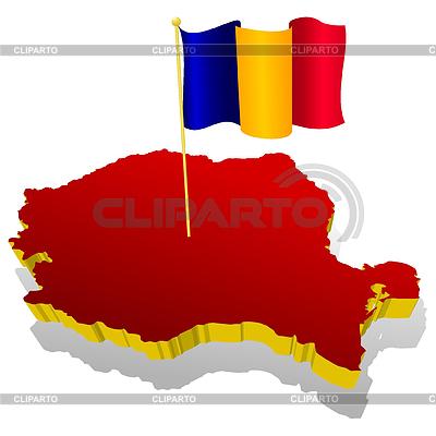 Trójwymiarowa mapa Rumunii z flag narodowych | Klipart wektorowy |ID 3244350