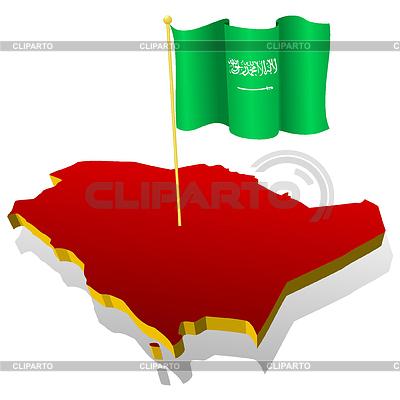 Landkarte von Saudi-Arabien mit Nationalflagge | Stock Vektorgrafik |ID 3244352