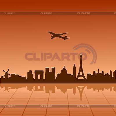 Samolot lecący nad Paryżu | Klipart wektorowy |ID 3244433