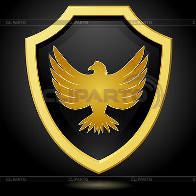 Goldenen Schild auf schwarzem Hintergrund mit ein | Stock Vektorgrafik |ID 3266934
