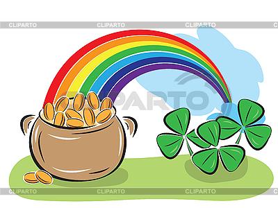 День Св. Патрика - горшок с монетами, радуга и клевер Векторный клипарт...