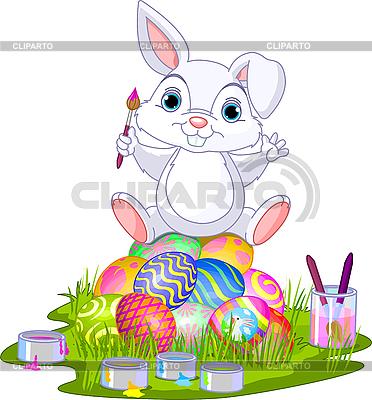 Ostern. Hase sitzt auf Eiern | Stock Vektorgrafik |ID 3189180