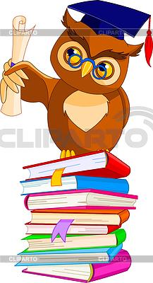 Cartoon Wise Owl z kasztana i dyplom | Klipart wektorowy |ID 3226250