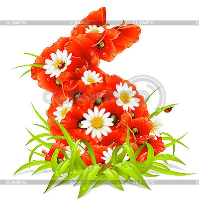 Wiosenne kwiaty w kształcie Easter rabbit | Klipart wektorowy |ID 3198105