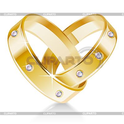 Dwie obrączki w kształcie serca | Klipart wektorowy |ID 3198109