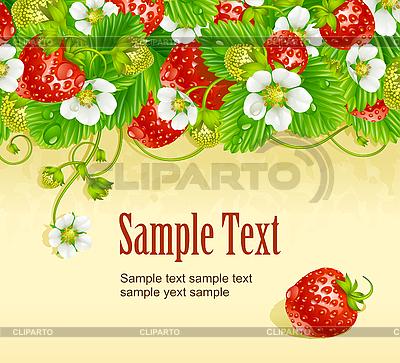 Erdbeerkarte. Rote Beeren und weiße Blumen | Stock Vektorgrafik |ID 3198111