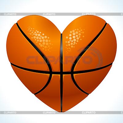 球篮球在心脏的形状 | 向量插图 |ID 3198527