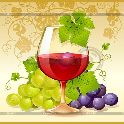 Glas Wein und Trauben | Stock Vektorgrafik |ID 3198543