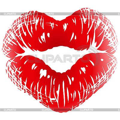 Pocałunek drukiem w kształcie serca | Klipart wektorowy |ID 3198741